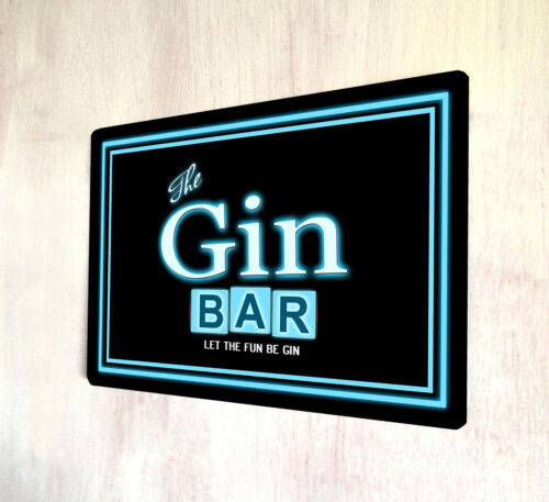 The Gin Bar Sign Retro 80/'s style out door sign A4 metal plaque