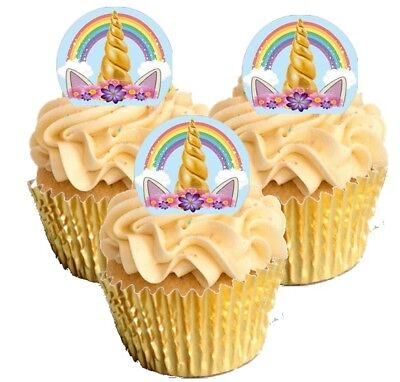 12 Standing Unicorn Cupcake Decoration Cake Toppers Printed Edible Wafer