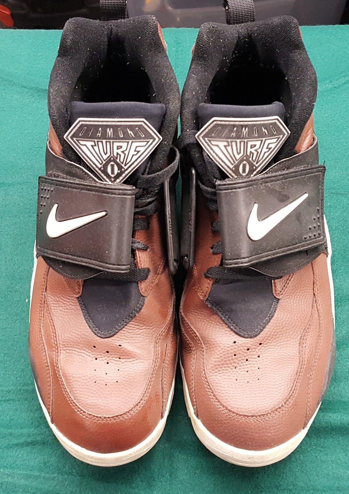 Nike Air Diamond Turf  Deion Sanders  shoes 309434-200 Size 12 Field Brown Black