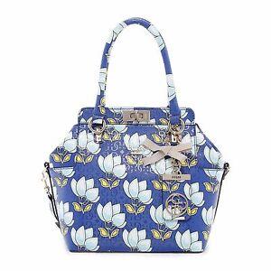 Guess-Malena-Blue-Floral-Crossbody-Turn-Lock-Handbag-Satchel-Purse-NEW-NWT