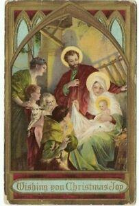 Antique-Post-Card-c-1911-034-WISHING-YOU-CHRISTMAS-JOY-034-Joseph-Mary-JESUS