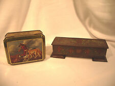Tin Boxes Lot 2 Hand Painted Hinged Lids Feet Vintage Germany Hunter Stag Dogs