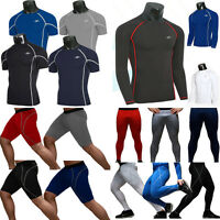 Mens Thermal Tops Compression Under Skins Tights Fitness Base Layer Shirts Pants