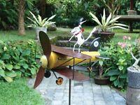 Dog Aviator Whirligig Sculpture Garden Decor Yard Stake Wind Spinner Airplane