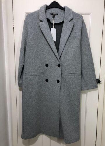 Breasted Light Coat L Size Bnwt Zara Grey Double Blend Wool Aw17 Long UxXagq