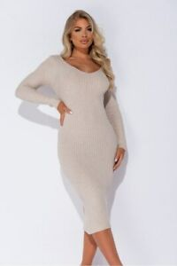 Womens-Bodycon-Long-Sleeve-V-Neck-Casual-Party-Jumper-Pencil-Midi-Sweater-Dress
