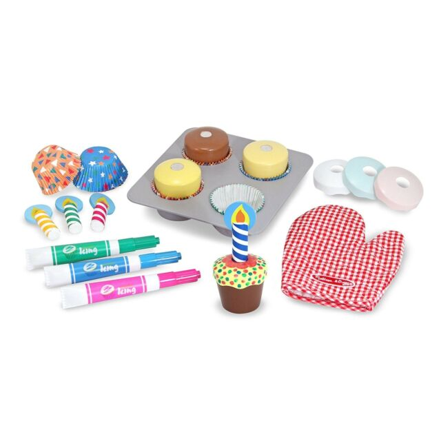 Melissa Doug Bake And Decorate Wooden Cupcake Play Food Set 4019 For Sale Online Ebay