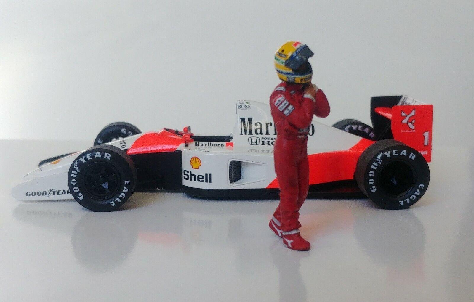 1 43 Ayrton Senna McLaren Honda FIGURINE FIGURE 1990 1991 walking to & de voiture