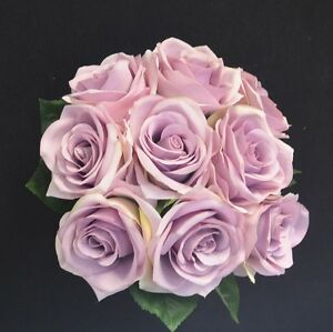 Silk wedding bouquet flower blue moon dusty purple rose for How are blue roses made