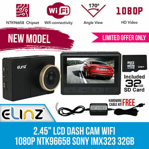 "2.45"" Car Dash Camera Cam Wifi Video Recorder 1080P Novatek 32GB Capacitor Elinz"