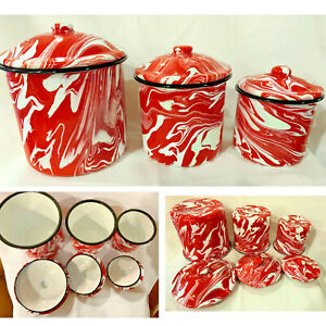 NEW-Enamelware-Splatter-Ware-Swirl-Red-amp-White-Set-of-3-Canisters