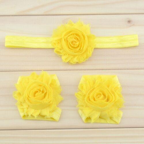 Baby Girl Flower Summer//Christening Hair Headband /& Barefoot Pram Sandals Set