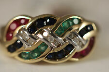 NEW W/TAG HEAVY 14K YELLOW GOLD EMERALD DIAMOND SAPPHIRE RUBY RING 14KT SZ 6.75