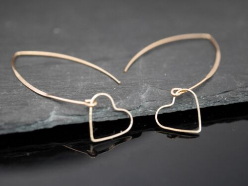 Gold Handmade Earrings Hoop Earrings Modern with Heart