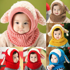 89fa23d4cc0 New Winter Toddler Baby Kids Warm Hat Girls Boys Hooded Scarf Beanie ...