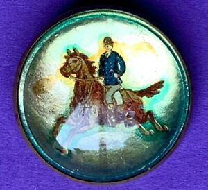 Early-20th-Cen-BRIDLE-ROSETTE-Derby-Day-Pinback-STALLION-Horse-BOWLER-HAT-RIDER