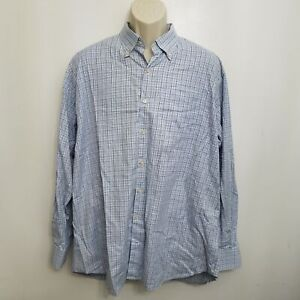 Peter-Millar-Mens-Button-Up-Shirt-XL-Blue-Brown-Plaid-Button-Down