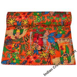 Baby-quilt-Handmade-Throw-Reversible-Blanket-Bedspread-Bohemian-kantha-quilt