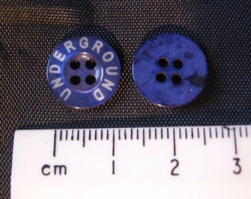 10 Pack Bleu Rond Plastique Colombie Boutons Underground texte 13 mm 4 trous R:T3717