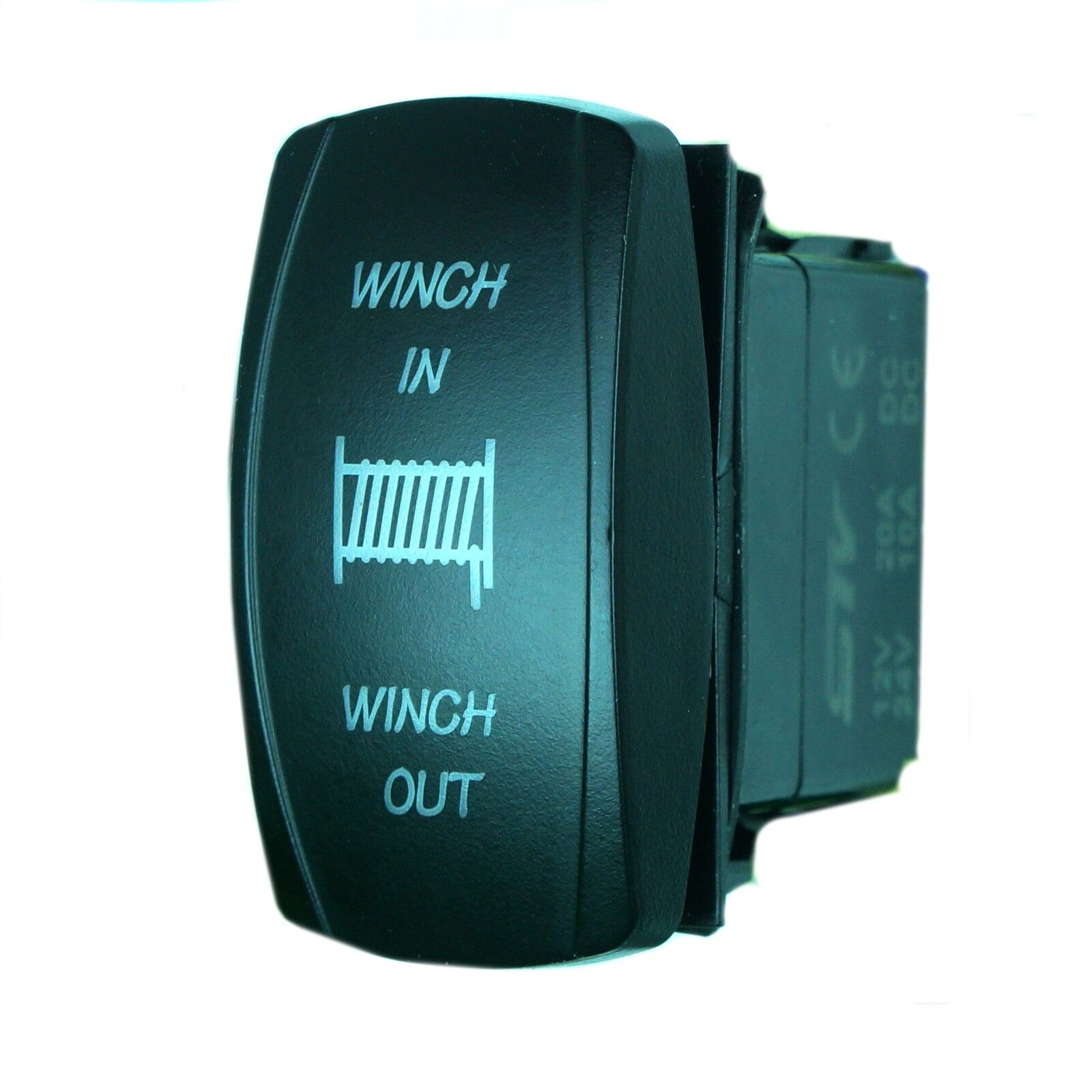 Blue Led Momentary Winch Power In  Out Rocker Switch 4wd