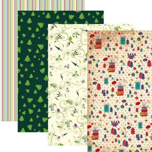 Weihnachtsgeschenkpapier 4er Set verschiedene Motive