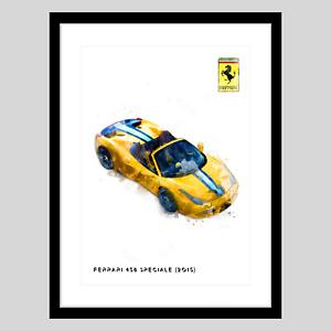 Ferrari-458-Speciale-2015-Gold-A3-Watercolour-Wall-Art-Print-Home-Office-Decor
