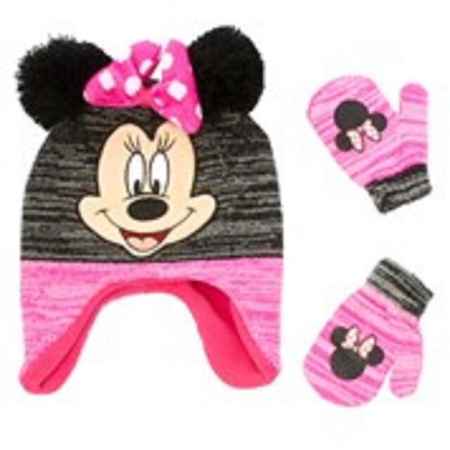 0213c195d7d38 Embroidered Minnie Mouse Image Laplander Beanie Hat and Mittens  Gloves-Brand New