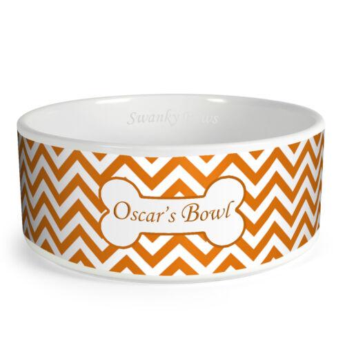 Personalised Zig Zag Pattern Custom Design Dog Bowl Cat Pet Food Dinner Dish