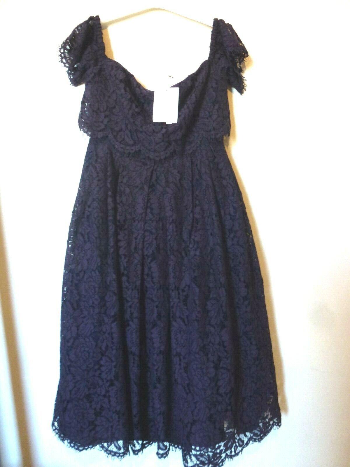 ASOS Petite Off the Shoulder Lace Prom Midi Dress Größe 12 Uk BNWT   lila