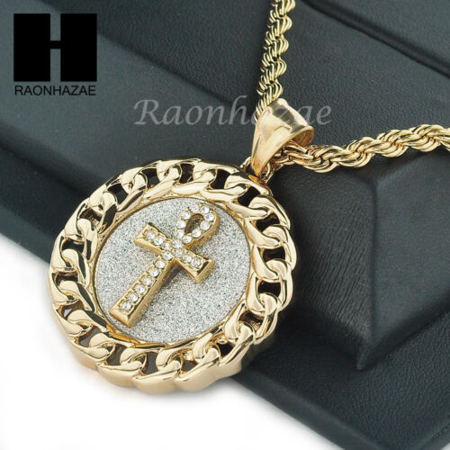 """MENS STAINLESS STEEL ANKH CROSS MEDALLION PENDANT 24/"""" ROPE CHAIN NECKLACE NP014"""
