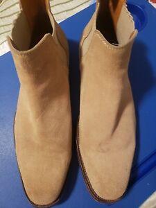 aldo mens chelsea tan suede slip on ankle boots dress