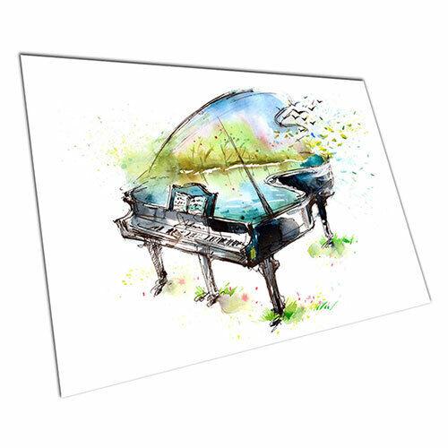 Poster print Watercolour Musical piano summer spring wall Poster Art prints
