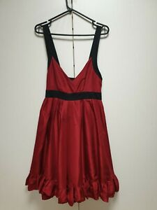 F708-WOMENS-TED-BAKER-RED-BLACK-SILK-SLEEVELESS-FORMAL-DRESS-UK-10