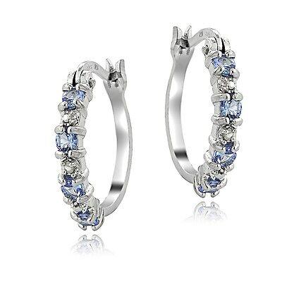 925 Sterling Silver Tanzanite & Diamond Accent Hoop Earrings