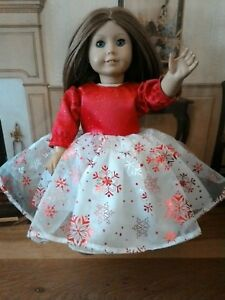 Valentine Gown Fits American Girl 18 inch Doll clothes Sparkly Red & White
