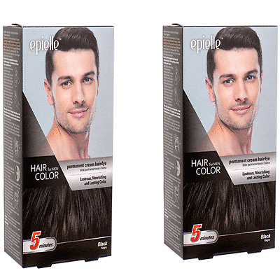 2 Packs Black Hair Color for Men Epielle Permanent Hair Dye in 5 Minute NEW Look