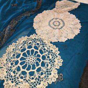 Lot-of-3-Vintage-Handmade-Crocheted-Doilies-Ecru-2-Rounds-1-Lamp-Doily-Granny