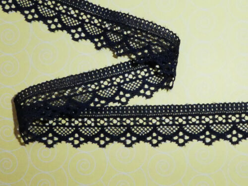 """5 metres Navy Blue Dainty Soft Stretch Lace Trim 1/""""//2.5cm TOP SELLER Trimming"""