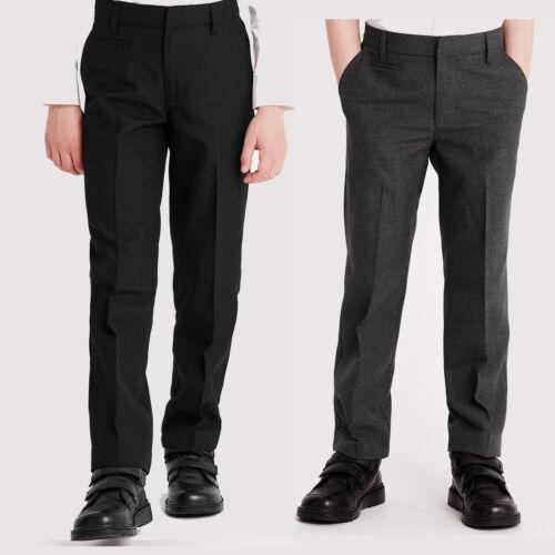 Boys ex Store Regular Fit Grey Adjustable Waist Black School Trousers