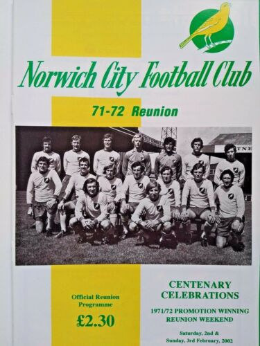 Norwich City 197172 Reunion Norwich City v Sheffield United 322002 MINT
