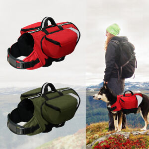 Dog Hiking Harness Backpack with Pockets Saddlebags Travel w/ Handle Reflective