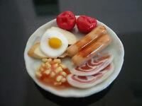 Breakfast Set on Plates Dollhouse Miniatures Food Supply Deco Barbie