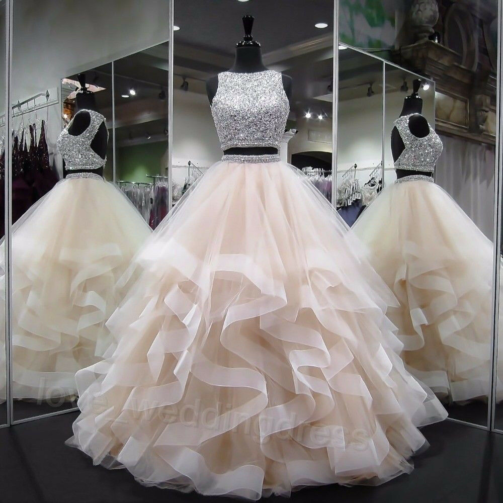 Sparkly Two Piece Quinceanera Prom Dress Sequin Crystals Wedding Party Ball Gown