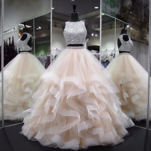 Sparkly Two Piece Quinceanera Prom Dress Sequin Crystals Wedding Party Ball Gown Ebay