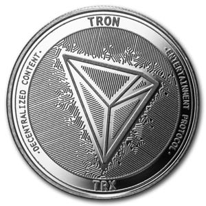 TRX Bitcoin Cryptocurrency Tron In Code We Trust 1 oz .999 Silver BU Round