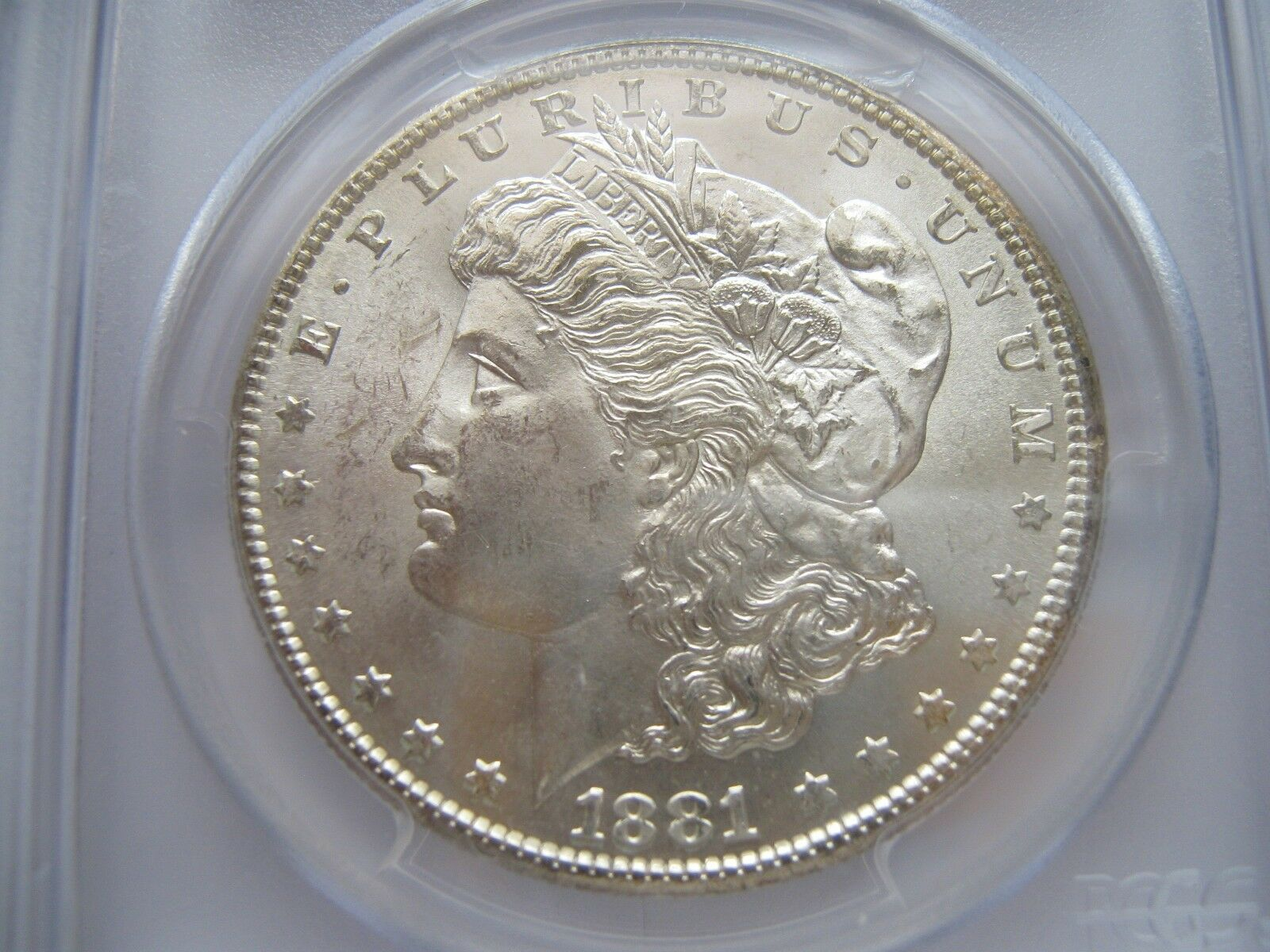 1881-S , Morgan Silver Dollar , PCGS , MS 64