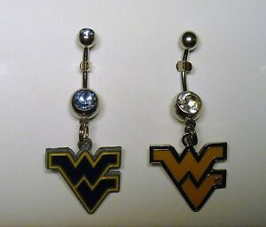 Details About Wvu West Virginia Logo Belly Naval Ring Choose Charm Shaft Hypoallergenic Ncaa