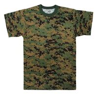Mens Digital Camouflage T-Shirt, Woodland Digital Camo by Rothco S- 3X