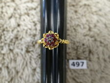 #497# Size 8 Ring Sterling Silver Plated 18K Gold Round Ruby CZ Gem Stones