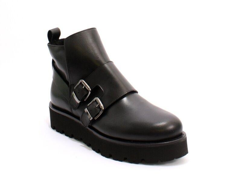 Laura BELLARIVA 5535 Negra hebillas de cuero cremallera ligero ligero ligero botas 39   Us 9  Centro comercial profesional integrado en línea.